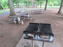 Barbecue picnic area at Roosevelt Park in Edison, NJ, USA. Г. Royalty Free Stock Photos