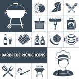 Barbecue picnic black icons set Stock Image