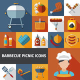 Barbecue picnic flat icons set. Family weekend barbeque picnic flat icons set with bbq grill and meat with beer abstract vector illustration stock illustration