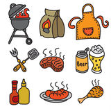 Barbecue picnic icons Stock Image