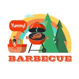 BBQ. Vector illustration. Barbecue, picnic in nature, against the forest and rainbow. Basket with food and drinks. Roast steak. Vector emblem, illustration in royalty free illustration