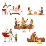 Barbecue Picnic Retro Cartoon Icons Set Royalty Free Stock Image