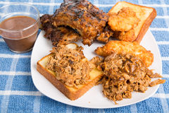 Barbecue Plate with Bread and Sauce Royalty Free Stock Photography