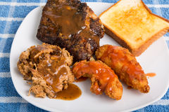 Barbecue Plate with Three Meats Stock Image