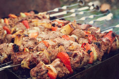 Barbecue pork on a charcoal grill Stock Photography