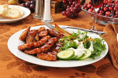 Barbecue pork dinner Royalty Free Stock Images