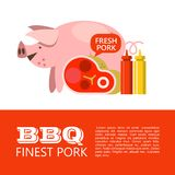 BBQ. Vector illustration. Barbecue pork. Finest pork. Cute pig, steak, ketchup and mustard. Illustration with space for text stock illustration