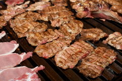 Barbecue with pork meat. Barbecue/fresh slices of pork meat on the grill Stock Photos