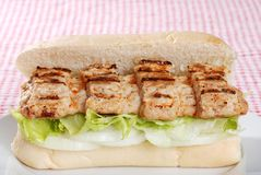 Barbecue pork riblet on bun Royalty Free Stock Images