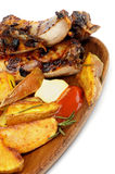 Barbecue Pork Ribs And Roasted Potato Stock Photos
