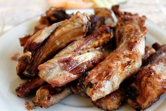 Barbecue pork ribs kebab royalty free stock photography