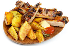 Barbecue Pork Ribs and Roasted Potato Royalty Free Stock Photos