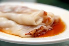 Barbecue pork rice noodle roll Royalty Free Stock Image