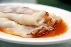 Barbecue pork rice noodle rolls Stock Photos