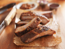 Barbecue pork spare ribs on cutting board Stock Image
