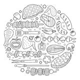Background of elements of barbecue. Barbecue poster. BBQ party template frame with hand drawn meat, chicken, fish, sausage and tools. Vector hand drawn sketch Royalty Free Stock Photography