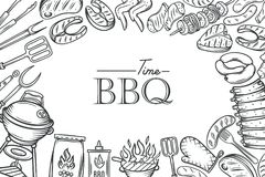 Barbecue poster template. BBQ party with hand drawn meat, chicken, fish, sausage and tools. Vector hand drawn sketch illustration Stock Images