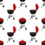 Barbecue réglé - grillez la station, modèle sans couture ouvert de chapeau Illustration de vecteur de pique-nique illustration libre de droits