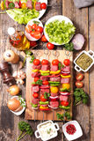 Barbecue,raw beef skewer stock photos