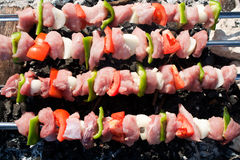 Barbecue with raw meat skewers stock image