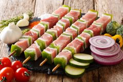 For barbecue raw shish kebab with pepper and lard on skewers close-up and ingredients, vegetables, spices, herbs. horizontal. For barbecue raw shish kebab with stock photography