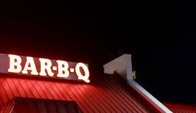 Bar-B-Q Food Restaurant Neon Sign stock photos