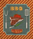 Barbecue retro poster. Barbecue retro vintage grill restaurant poster with meat steak tomato and chives vector illustration Stock Photos