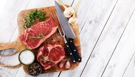 Barbecue Rib Eye Steak, dry Aged Wagyu Entrecote Steak.  Royalty Free Stock Photography