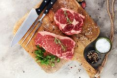 Barbecue Rib Eye Steak, dry Aged Wagyu Entrecote Steak.  Royalty Free Stock Image