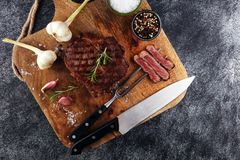 Barbecue Rib Eye Steak, dry Aged Wagyu Entrecote Steak.  Stock Photo