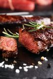 Barbecue Rib Eye Steak or rump steak - Dry Aged Wagyu Entrecote. Steak stock photo