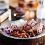 Barbecue rib meal with fixings Stock Images