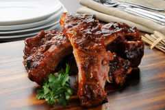 Barbecue ribs close up Royalty Free Stock Photography