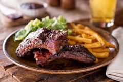 Barbecue Ribs with Fries and Salad. A plate of delicious barbecued ribs with french fries and salad stock photography