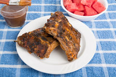 Barbecue Ribs with Sauce and Watermelon Stock Images