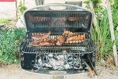 Barbecue with ribs and steak Stock Photo
