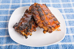Barbecue Ribs on White Plate Royalty Free Stock Photo
