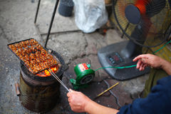 Barbecue at the roadside, grilling pork Stock Photography