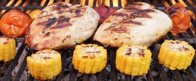 Barbecue Roast Chicken Breast With Vegetables On The Grill Royalty Free Stock Photos