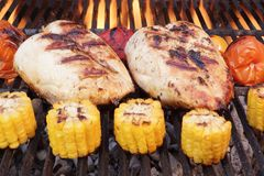 Barbecue Roast Chicken Breast With Vegetables On The Grill Stock Photo
