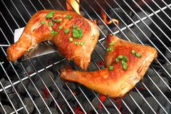 Barbecue Roast Chicken Quarters On The Hot Charcoal Grill Royalty Free Stock Photo