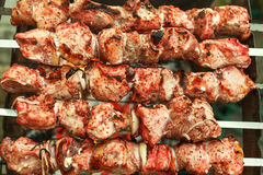 Barbecue roasted meat kebab hot grill, good snack outdoor picnic Royalty Free Stock Image