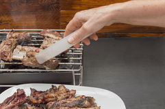 A barbecue. With roasted meat, a person places the roast on the plate Royalty Free Stock Photography