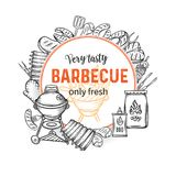 Barbecue round banners. BBQ party template with hand drawn meat, chicken, fish, sausage and tools. Vector hand drawn sketch illustration Royalty Free Stock Photos