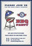 Barbecue's party invitation and response card. Fourth of July cerebration, USA Independence day party invitation design with badge and gril. Vector vector illustration