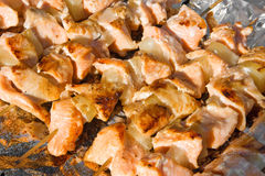 Barbecue of salmon Royalty Free Stock Image