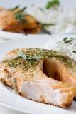 Barbecue salmon steak stock photos