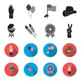 Barbecue, salute, voting ebblema, victory. The patriot day set collection icons in black,flet style vector symbol stock. Illustration Royalty Free Stock Photography