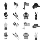Barbecue, salute, voting ebblema, victory. The patriot day set collection icons in black,monochrome style vector symbol. Stock illustration Stock Image