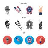 Barbecue, salute, voting ebblema, victory. The patriot day set collection icons in cartoon,black,flat style vector. Symbol stock illustration Royalty Free Stock Photos
